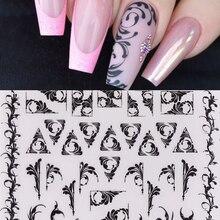 1 blatt Russische Reben 3D Nagel Kunst Aufkleber Schwarz arabessque Nagel Aufkleber Nagel Decals Adhesive Aufkleber Tattoo Rutschen