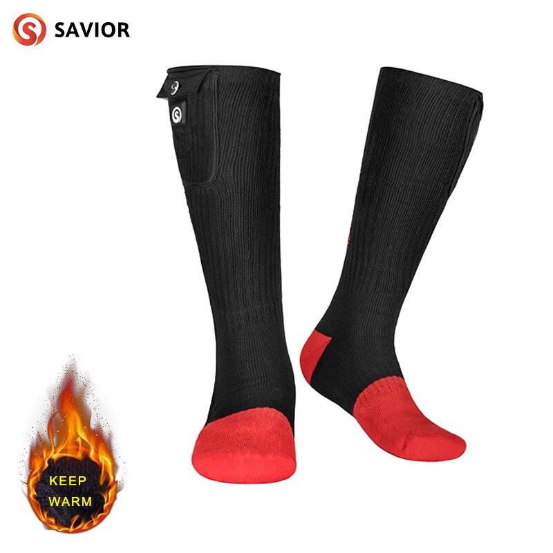 Hiver Chaud Chauffée Chaussettes 7.4-Volt Noir Pieds au Chaud Pour Hommes et Femmes à Rechargeable Batterie Chauffage chaussettes pour froid D'hiver