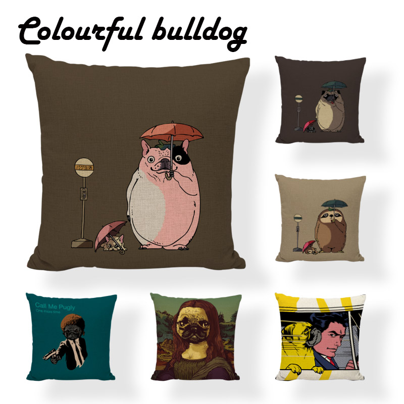 Crime Dog Pattern Cushion Cover Pillowcase Seat Sloth Umbrella Stop Sign Modern Style Pillow Cover Sofa Covers Home Decoration