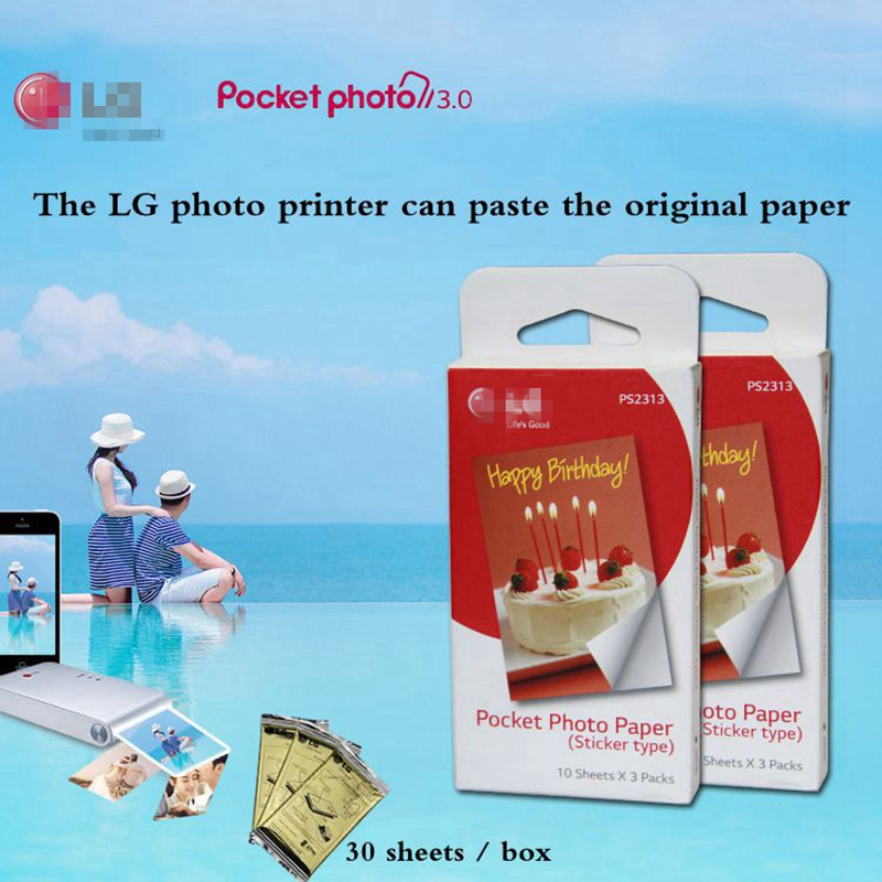 60 Pcs photographic Paste paper Zink PS2203 Smart Mobile Printer for LG Photo Printer PD221 PD251