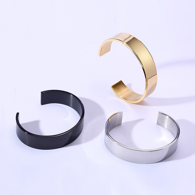 15MM stainless steel open bracelet gold neutral Bangle For Women Men Jewelry Gold Silver Black in Bangles from Jewelry Accessories