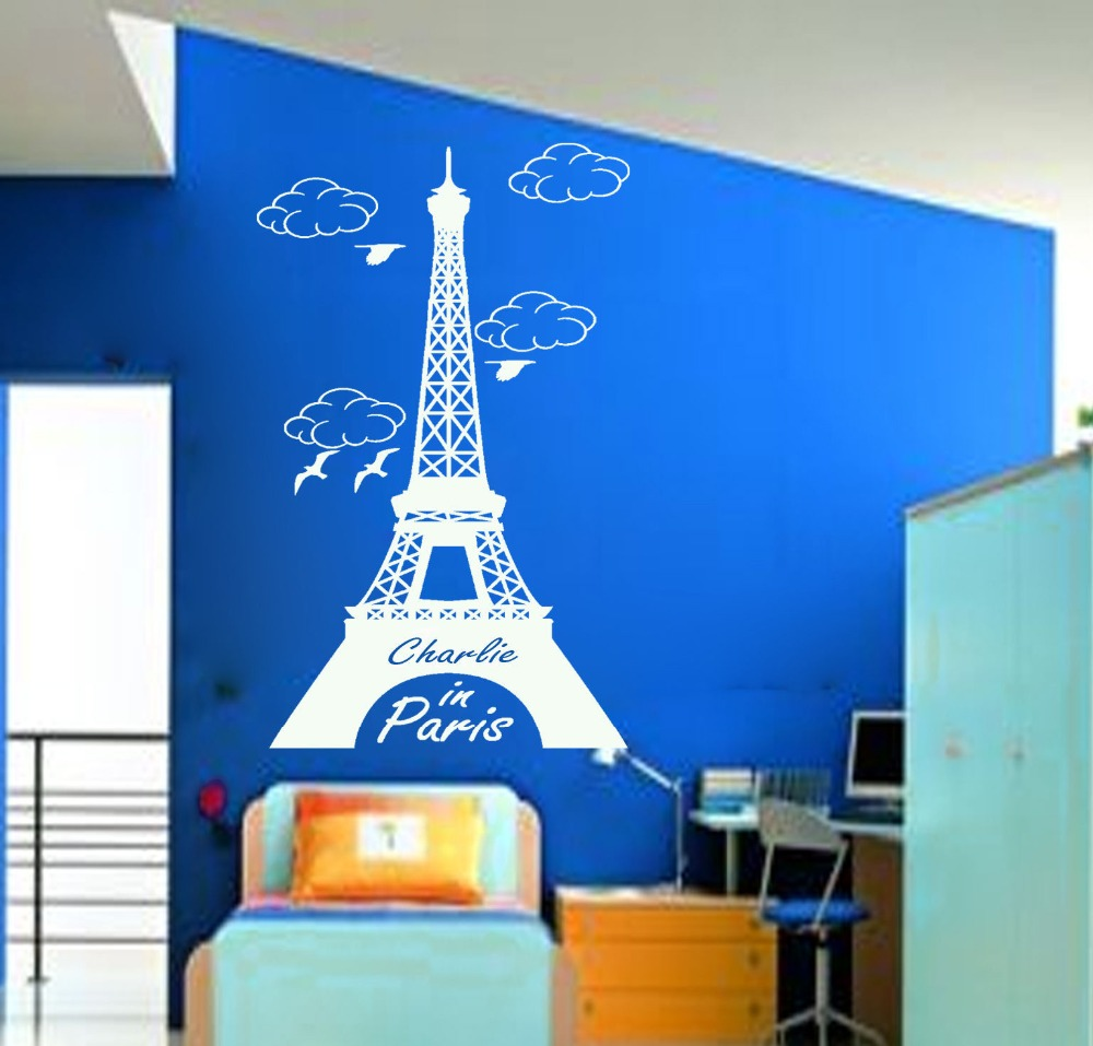 Muro adesivi custom name world paris eiffel tower wall sticker muro adesivi custom name world paris eiffel tower wall sticker personalised name decal vinyl art home decal mural paper s 36 in wall stickers from home amipublicfo Images
