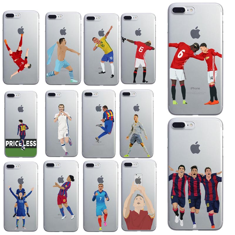 Clear Soft TPU Phone Case Cover For iphone X 6S 7 8Plus Silicone Coque Sport Football Soccer Star Cristiano Ronaldo Messi pogba
