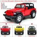 1 Unidades de Alta Simulación 1:32 Tire Jeep Wrangler Rubicon Aleación De Zinc Modelo Funde Automóviles de Juguete Con Luz LED y música