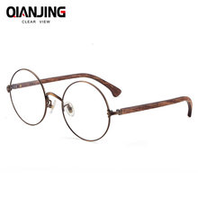 0f129d6914c QianJing Vintage Retro Rivet Eyeglasses Frame Men Women Bamboo Wooden  Myopia Prescription Optic Glasses Frame With Clear Lens
