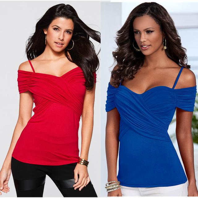 T-shirt do verão Barco Pescoço Fino Corpo Cruz Frente Sexy Camis Mulheres Tops Tees Azul Vermelho