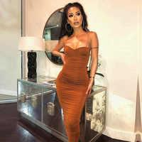 Vestido ajustado de mujer largo plisado Sexy vestido de Club nocturno marrón midi fiesta verano ropa Sling vestidos largos de fiesta de noche