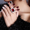 WONDERFUL Large Rectangle rings with Siam/Montana blue crystal Bohemia Fashion design Rings for party