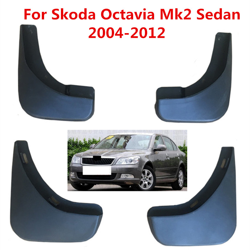 4 pçs/set Respingo Guardas Mud Flap Mudguards Fender Mudflaps Carro Para Skoda Octavia Mk2 (A5) 4-Door Saloon/Sedan 2004-2012
