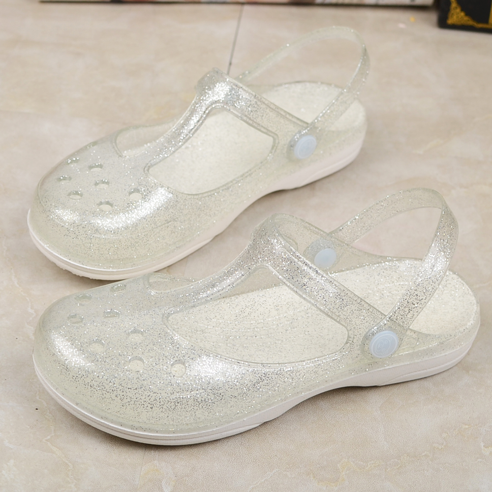 Women's Sandals Shiny Crystal Jelly Shoes Summer Thick Bottom Baotou Hole Beach Sandals.