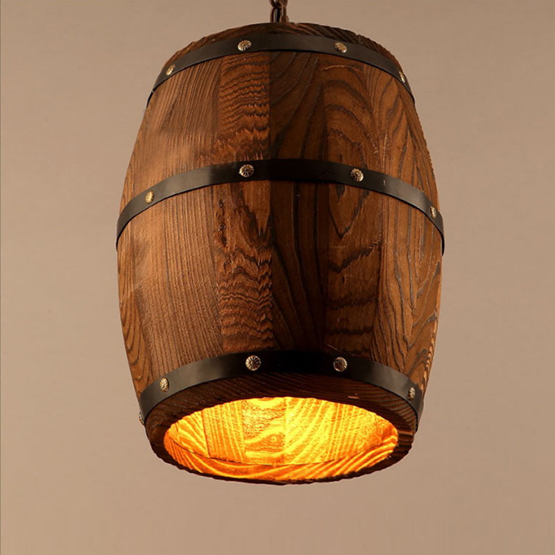 Modern Nature Wood Wine Barrel Ceiling Pendant Lamp E27 Light Hanging Light Fixture For Bar Restaurant Living Dining Room Cafe