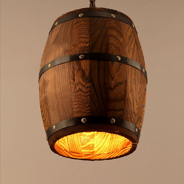 Modern nature wood wine barrel ceiling pendant lamp e27 light modern nature wood wine barrel ceiling pendant lamp e27 light hanging light fixture for bar restaurant aloadofball Image collections