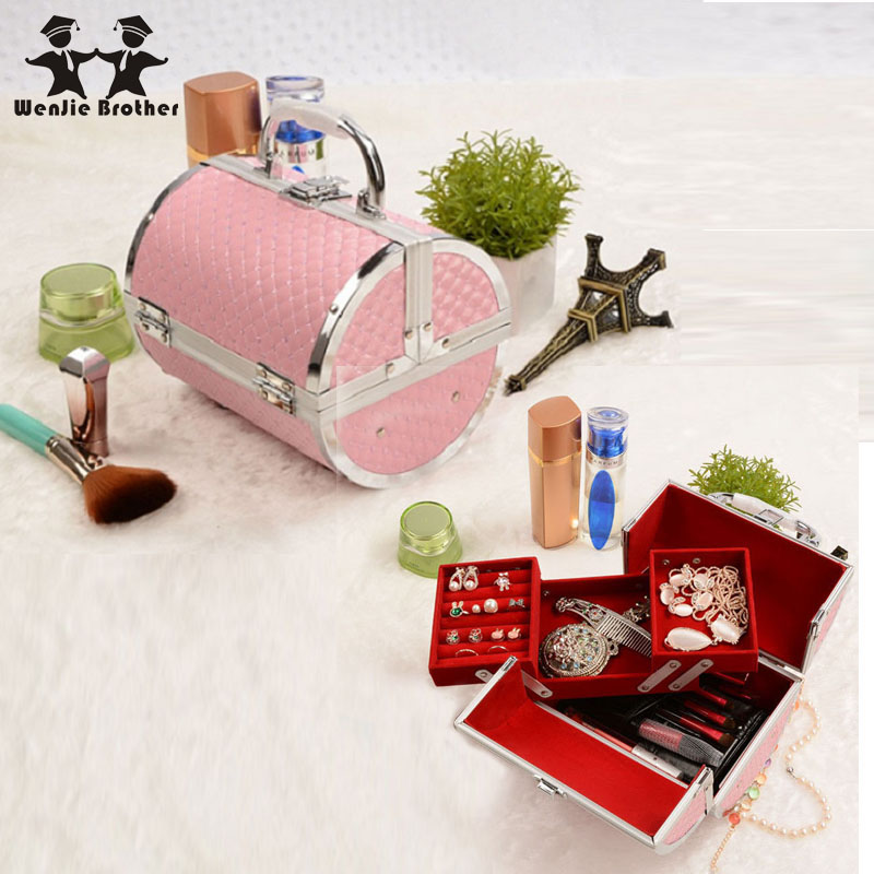 wenjie brother pillow design Aluminium alloy Make up Box Makeup Case Beauty Case Cosmetic Bag Multi