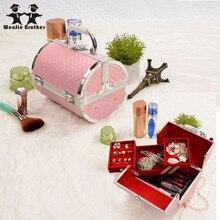 Wenjie brother kissen design aluminiumlegierung bilden Box Make-Up Fall Beauty Kosmetiktasche Multi Tiers Abschließbare Schmuckschatulle
