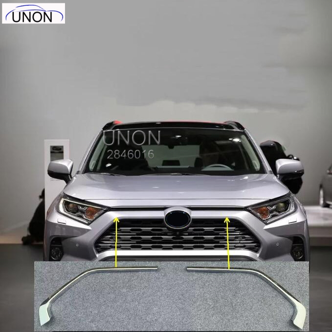 ABS Chromed Car Front Grill Grille Decorative Cover Trim Strips For Toyota RAV4 2019 2020 5th Car Styling Decals 2pcsABS Chromed Car Front Grill Grille Decorative Cover Trim Strips For Toyota RAV4 2019 2020 5th Car Styling Decals 2pcs