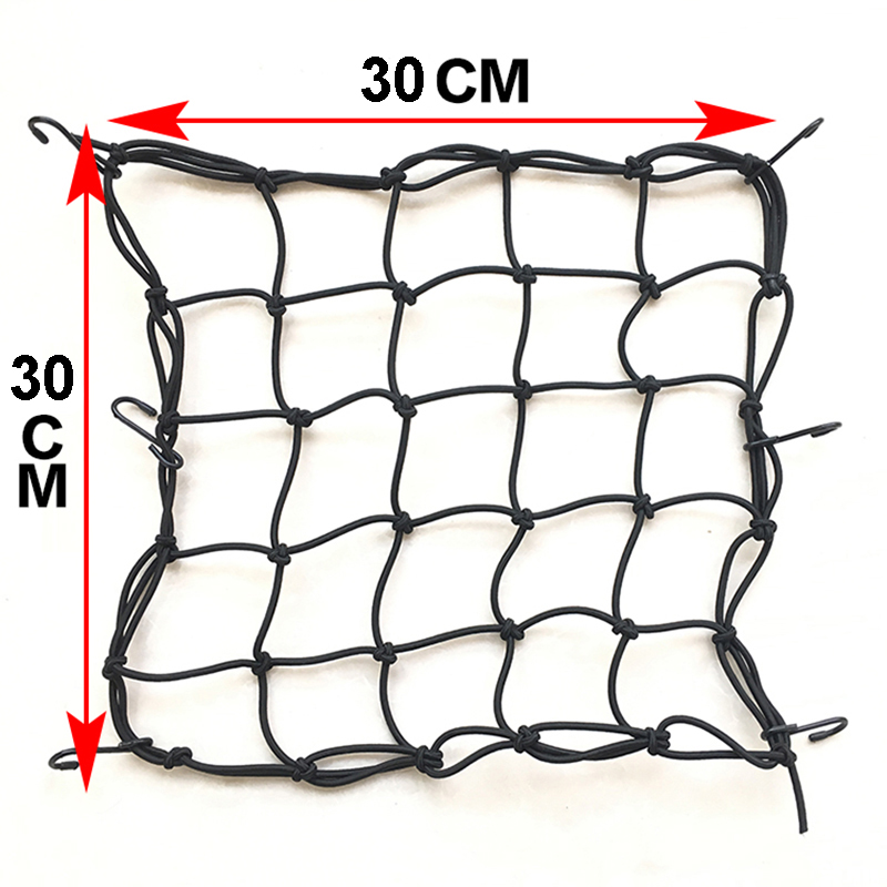 30*30cm Motorcycle Helmet Net Mesh Luggage Motorcycle Fuel Tank Storage Carrier Bags Luggage Sundries Elastic Net With 6 Hooks