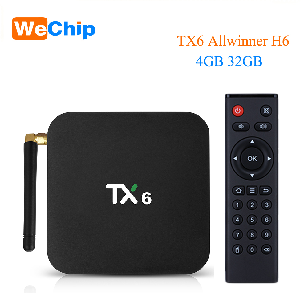 Wechip TX6 Smart Android 9.0 TV BOX 4G 32G Allwinner H6 Quad core 2,4G + 5G Dual wifi BT 4,1 Set Top Box 4 K HD H.265 Media Player