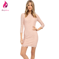 Plus Size Lace Dress With 3 4 Sleeves Stretchy Party Casual Vestidos Lavender Wear To Work
