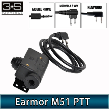 Opsmen Earmor Headset M51 PTT Kenwood Motorola 2-Way Phone Plug 3.5MM AUX Tactical Headphones Accessory