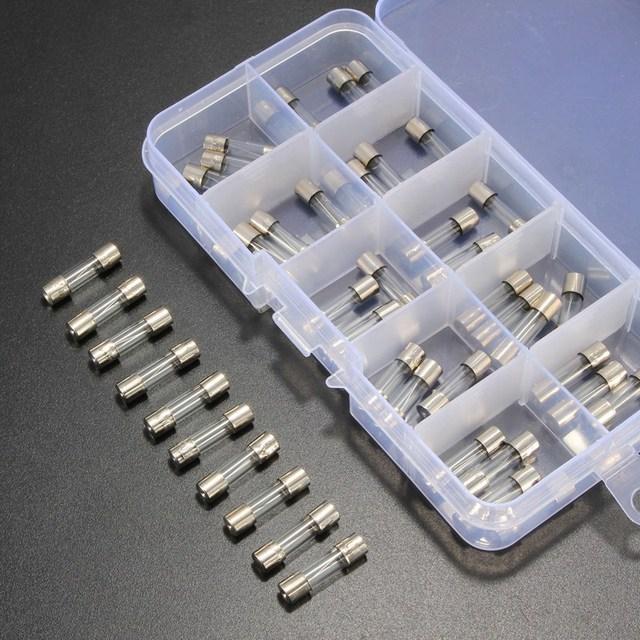 50Pcs of Glass Fuse Assortment Kit Slow Blow Glass Tube Assortment Kit 5x20mm 0.25A~6.3A Fast Blow Glass Fuses