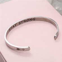 Wide 6mm Cuff Trendy Keep Going stay strong Titanium Encouragement Bangle For Men Jewelry