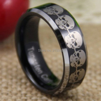Free Shipping & Engraving Wholesale Price 2015 Hot Selling 8MM Skull Black Silver Beveled Tungsten Ring For Wedding Band Ring