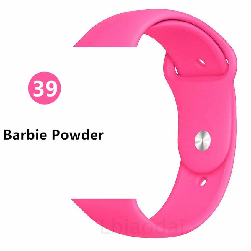 Ремешок для Apple Watch 38 мм 42 мм iWatch 4 ремешка 44 мм 40 мм спортивный силиконовый ремень браслет Apple watch 5 4 3 2 Аксессуары для ремешка - Цвет ремешка: Barbie powder