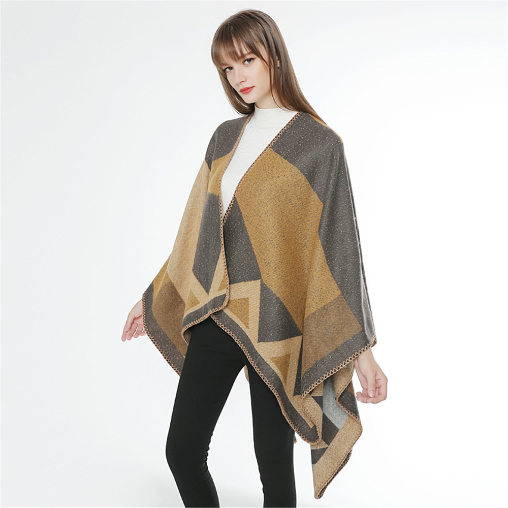 Sexy Medieval retro style Women Winter Knitted Cashmere Poncho Capes Shawl Cardigans Sweater Coat winter keep warm scarves cloak