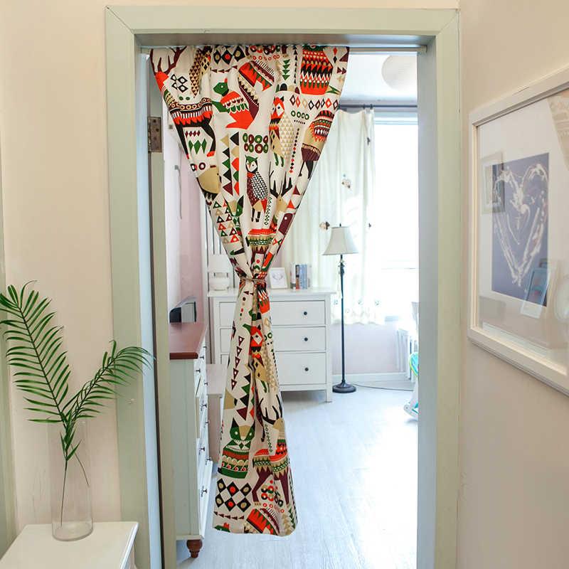 新到着ドアカーテン Vanlance アンチダスト綿生地漫画幾何学プリントパーティションカーテンキッチン装飾ホーム