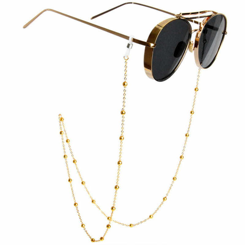 Fashion Chic Women Glasses Chains Gold Silver Metal Sunglasses Chain Holder Round Beaded Eyewears Lanyards Cord Holder