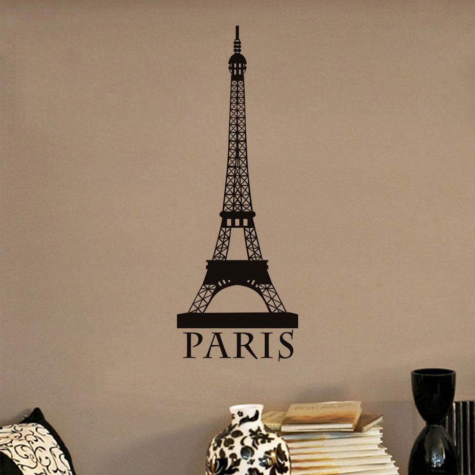 Aliexpress buy romantic paris eiffel tower wall art wall aliexpress buy romantic paris eiffel tower wall art wall sticker for living room vintage wallpaper posrer boys and girls home decoration from reliable amipublicfo Images
