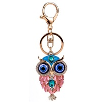 Bohemian Owl Crystal Rhinestone Keyring Key Holder Purse Bag For Car Fashion christmas Gift Keychains For Women Jewelry 2017