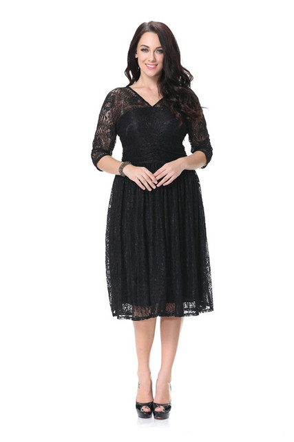 XL 7XL big size black lace dress half sleeve knee length summer ...