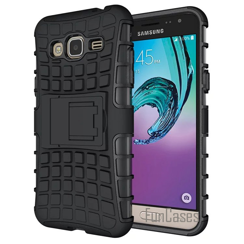 Case for J3 2016 Armor Cover Hard Plastic Back Case For Samsung Galaxy J3 2016 Version J320 J320F With Kickstand Phone Shell +