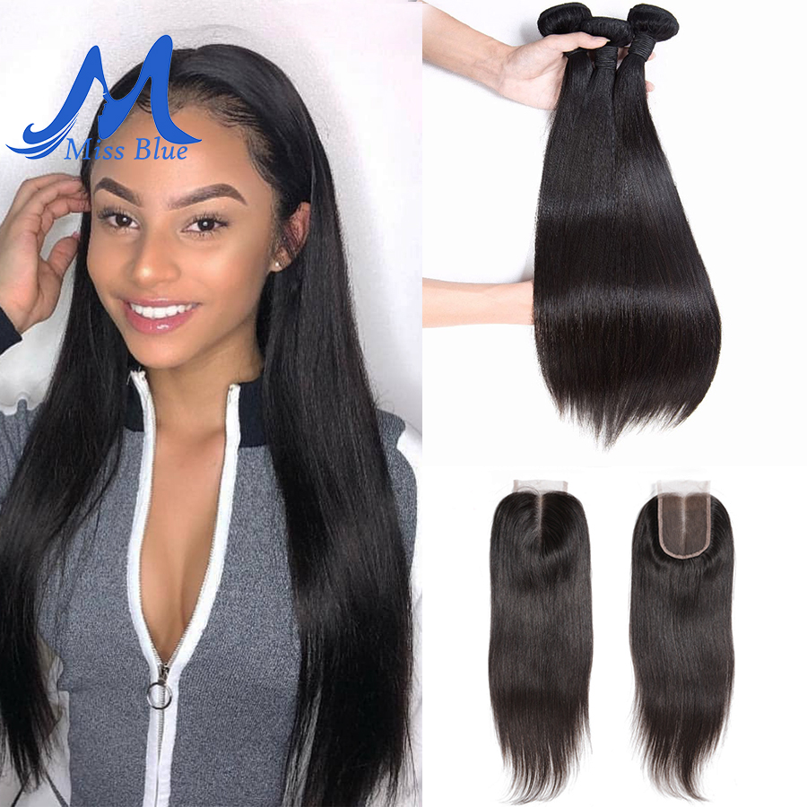 Missblue 3 Bundles With Closure Straight Brazilian Hair Weave Bundle With Lace Closure 100 Remy Human