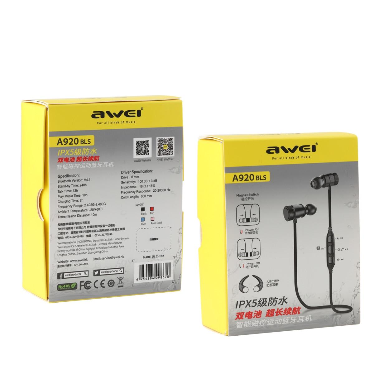 AWEI A920BLS Bluetooth Headphone Wireless Earphone Sport Headset Waterproof Earbuds AWEI A920BLS Bluetooth earbuds HTB180mgRpXXXXaCXVXXq6xXFXXX0