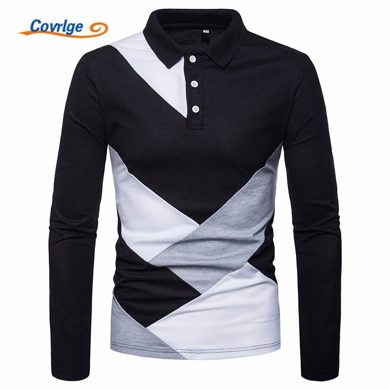 Covrlge New Brand Polos Business Black and White Stitching Solid Male POLO Shirt Long Sleeve Stand Collar Male Polo Shirt MTP097