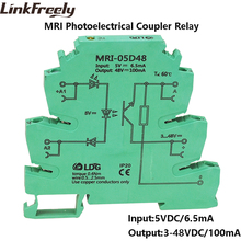 MRI-05D48 Input 5V DC Photoelectrical Coupler Interface Relay Module Optocoupler Isolating PLC DIN Rail Relay 10pcs 10pcs lot optical coupler oc pc827 dip 8 optocoupler integrated circuit freeshipping