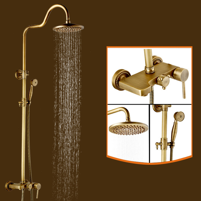 New Antique Brass Round Shower Head Faucet Single Handle Mixer Tap W ...