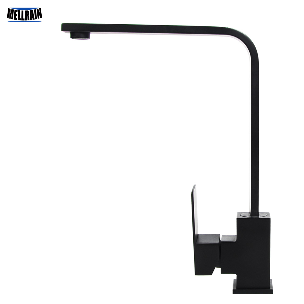 Matt Black Color Square Style Kitchen Mixer Faucet SUS304 Material Rotation Single Hole Deck Mounted Kitchen