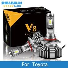 цена на 2 Pcs Car Headlight H7 LED H4 LED H1 H7 H3 9005 6500K 8000LM CSP Chips For Toyota Corolla Camry Yaris Prius Kluger RAV4 Venza