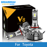 2 Pcs Car Headlight H7 LED H4 LED H1 H7 H3 9005 6500K 8000LM CSP Chips For Toyota Corolla Camry Yaris Prius Kluger RAV4 Venza