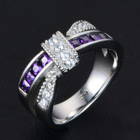 Choucong Fashion Female Cross Ring 3 Colors Cz Crystal 316L Stainless Steel Party Engagement Wedding Ring