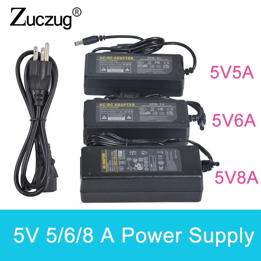 цена на DC 5V 5A 6A 8A Power Supply Adapter Charger Transformer 100V-240V to DC 5 V Converter transformator led driver For LED Strip