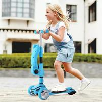 3 In 1 Kid Adjustable Kick Scooter Foldable Seat Flashing 3 wheels Step Scooters Children City Roller Skateboard Gifts For Kids