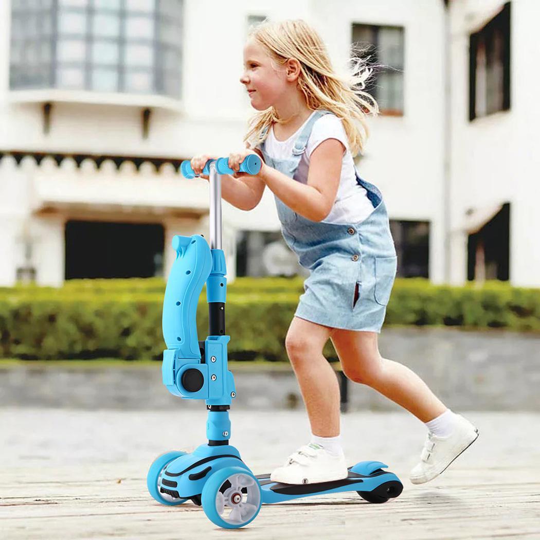 3 en 1 enfant réglable Kick Scooter siège pliable clignotant 3 roues étape Scooters enfants ville rouleau Skateboard cadeaux pour les enfants