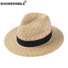 SHOWERSMILE Mens Straw Hat Vintage Women Panama Hat Ribbon Black Spring Summer Casual Outdoor Jazz Female Male Beach Sun Hat цена 2017