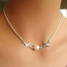 Simple Animal Cute Bird Necklace Jewely Multi Silver Plated Chain Necklace Fashion Design Short Necklace(China)