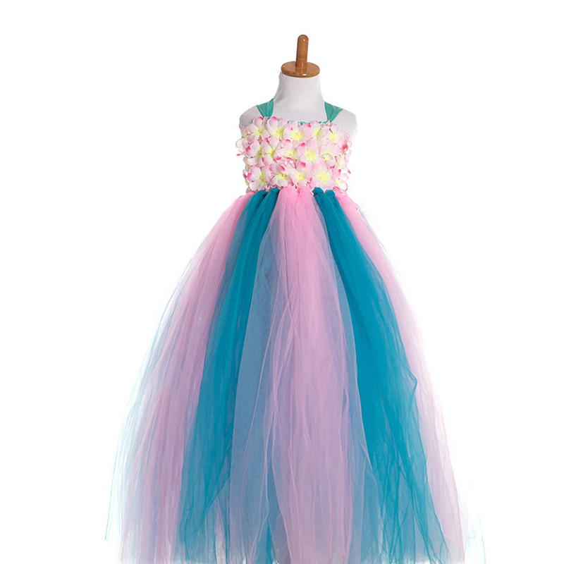 Sling Rainbow Kids Princess Party Dress for Girls Baby Summer Clothes 2018 Toddler Children Floral Ball-Gown Tutu Dresses 2017 princess baby girls dress summer sleeveless floral tutu ball gown child party dresses vestidos clothes 0 7y