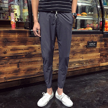 Top quality 2019 Fashion summer wear slacks male British men thin harem pants student hip hop beam foot pencil
